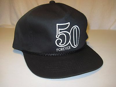 50 Forever 50th Birthday Trucker Baseball Cap Hat Black White Snapback  NWOT (50th Birthday Hats)