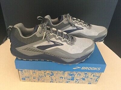 New! Mens Brooks Cascadia 14 Grey/Navy Running Shoes. Size 10.5D.. Nice!