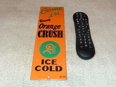 VINTAGE 1935 ORANGE CRUSH CRUSHY 12 PORCELAIN METAL SODA POP DOOR PUSH PALM SIGN
