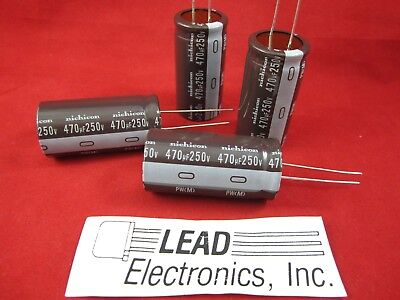 4 PCS 470UF 250V RADIAL105-DEG LOW-ESR  NICHICON # UPW2E471MRD
