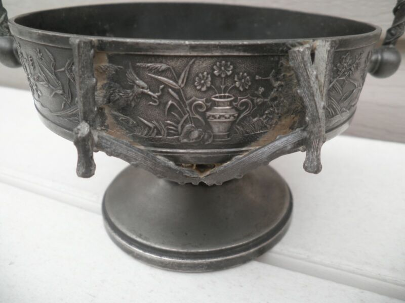 Antique Silverplate Ornate Brides Basket Twig Handles Bird With Worm