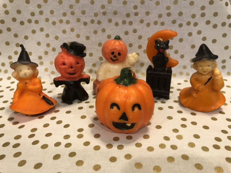 Vintage Gurley Halloween Candles - Lot of 6 Pumpkin Ghost JOL Witch Black Cat
