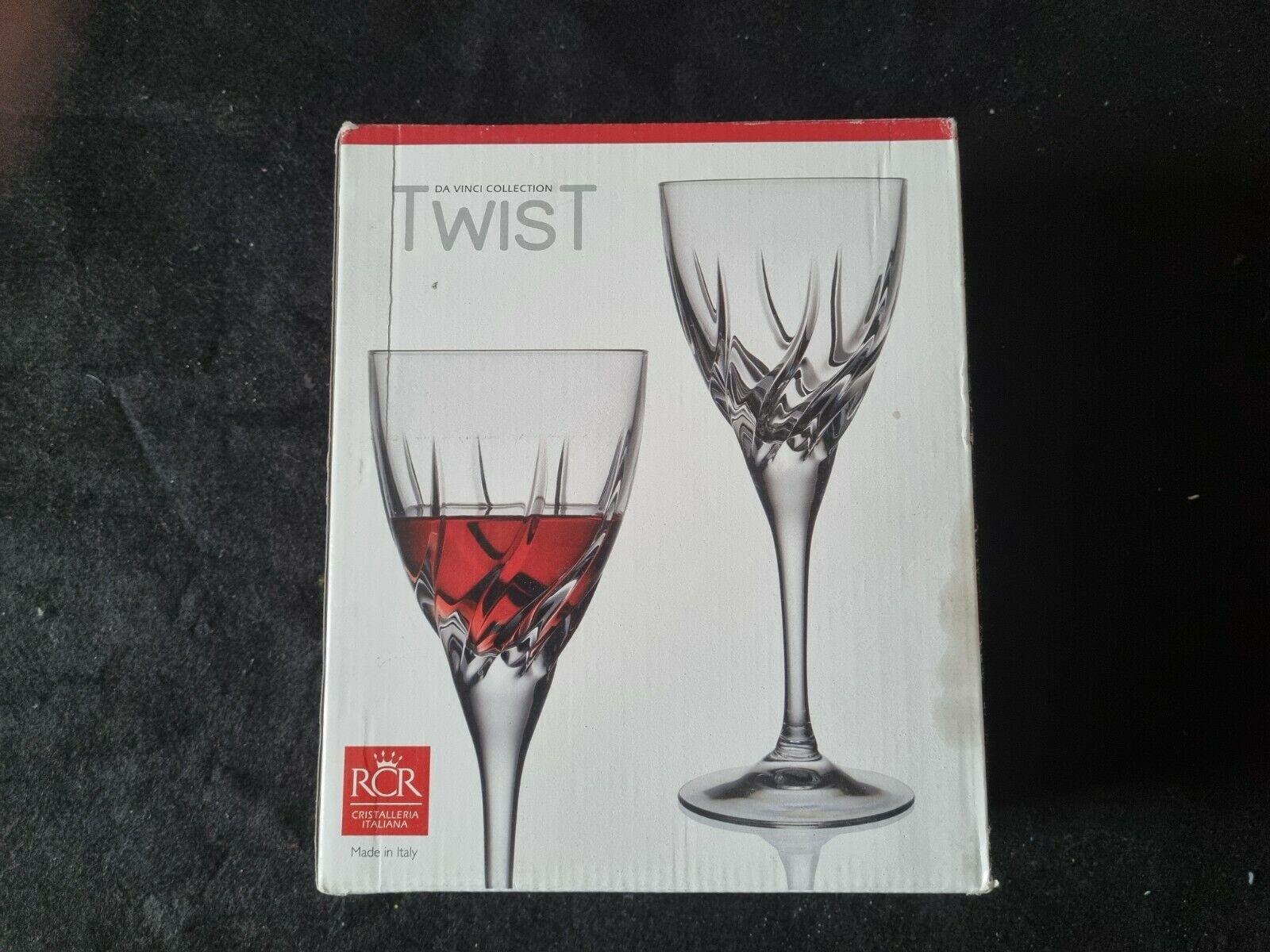 RCR Crystal Da Vinci Collection Twist Crystal Red Wine Glasses x 2