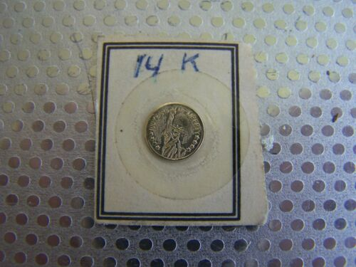 """TINY 1/4""""  COMMEMORATIVE COIN  MARKED ON CARDBOARD14k GOLD?-HUNDRED YEARS OF LIB"""