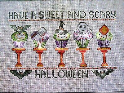 "Cross Stitch ""SWEET & SCARY CUPCAKES"" pattern - Halloween, bats, skull"