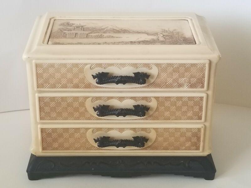 Vintage Celluloid Plastic Jewelry Box Asian Oriental Dragon Handles