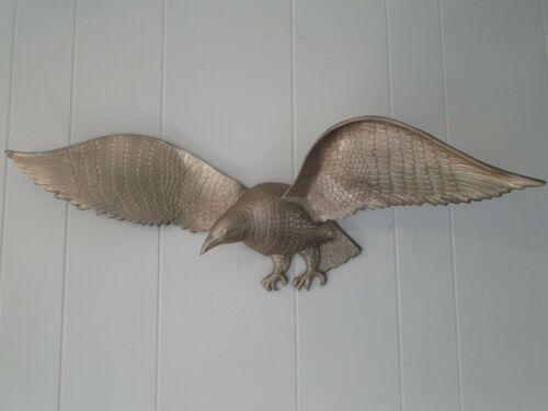 "Vintage Brass Colonial Style 30"" Eagle Bird Hanging Wall Sculpture"