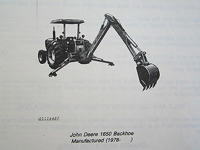 1980 Jd John Deere 1650 Backhoe Parts Catalog Manual