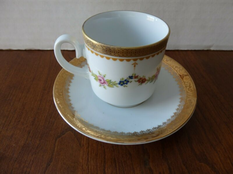 Vintage Tirschenreuth Bavaria Demitasse Cup + Jaeger Co. Saucer Germany US Zone