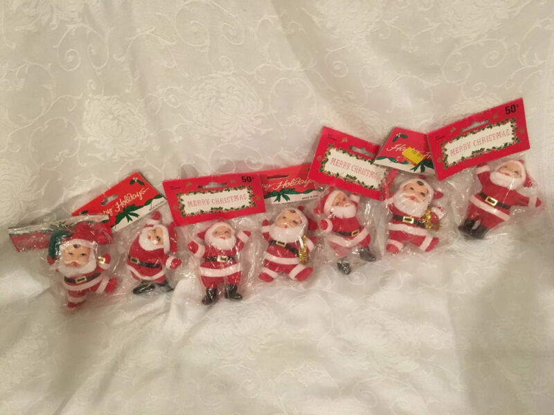 Vintage Lot Of 7 Flocked Christmas Santas Ornaments