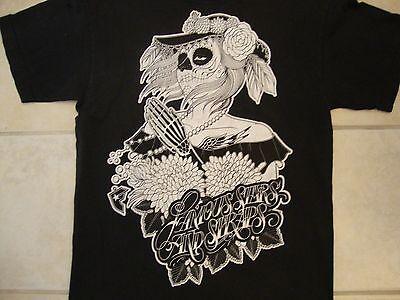 Famous Flower - Famous Stars & Straps Skeleton Zombie Girl w/ Flowers Art Black T Shirt M