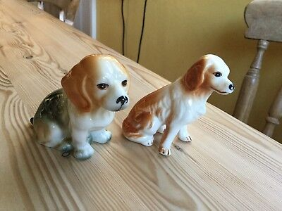 """2 small ceramic dogs 3"""" high"""