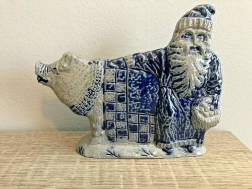Rowe Pottery Works Christmas Santa with Pig Salt Glaze Stoneware Figurine
