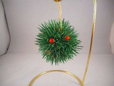Vintage Plastic Christmas Tree Ornament, Evergreen Needle Clusters & Berries -