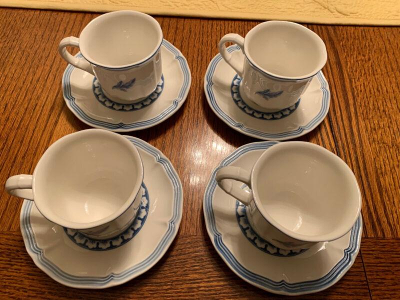 Villeroy & Boch Casa Azul Set of 4 Espresso Cups and saucers