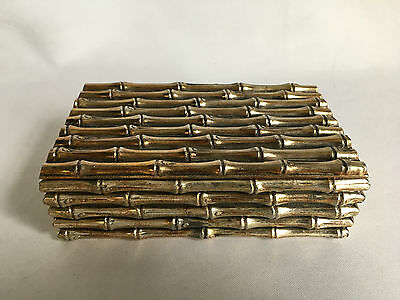 Rare Bamboo Trinket Cigarette Box Decorative Brass colour Metal Box