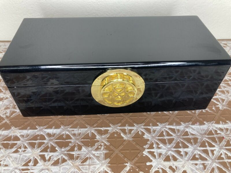 Black Enamel Jewelry Box Velvet Lined Gold Colored Closure Rockabilly Chic