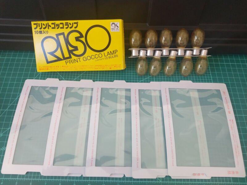 Lot of 5 RISO Print GOCCO B6 Hi-Mesh Master film sheets + 10 Lamp Bulbs