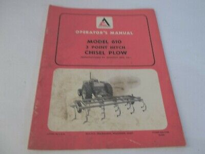 Allis-chalmers 610 Model 3 Point Hitch Plow Operators Manual