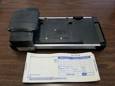 Vintage Manual Datacard Addressograph Credit Card Imprinter With Sales Slips