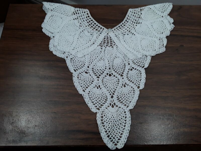 vintage COLLAR White Crochet Lace  handmade, long drop in back, Button closure