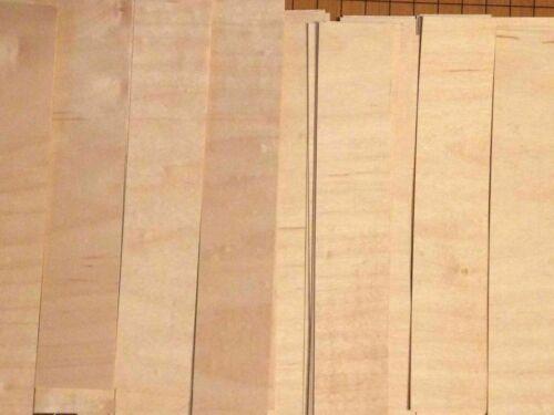 "40 Maple Wood Veneer Fingerboard 24 straight cut 16 cross cut pieces 1/42"" thick"