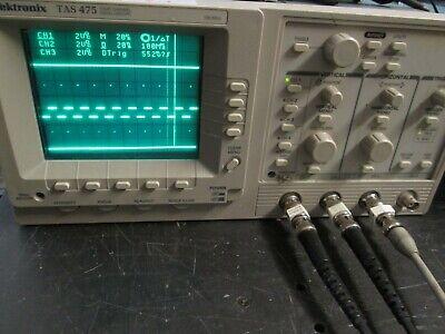 Tektronix Tas475 100mhz 4 Ch. Analog Oscilloscope Probes Calibrated Bright Crt