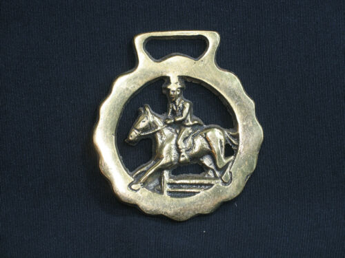 Vintage Jumping Horse Brass Medallion Harness Equestrian Competition