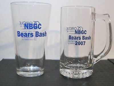 12 Ounce Pint Glass (Bears Bash souvenir pint glass and 2007 12 ounce beer stein, clear, barware )