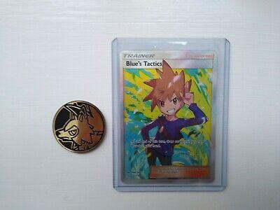 Blue's Tactics 231/236 Trainer Full Art Ultra Rare Pokemon TCG plus coin