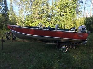 16' lund boat motor and trailer