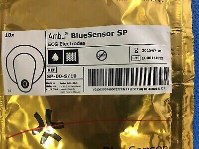 Ambu Sp-00-s10 Blue Sensor Ecg Electrodes 10 New - 07-2020