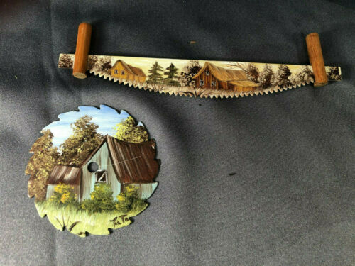 Miniature Hand Painted Saw Art Signed Titi Circular Two Man Country