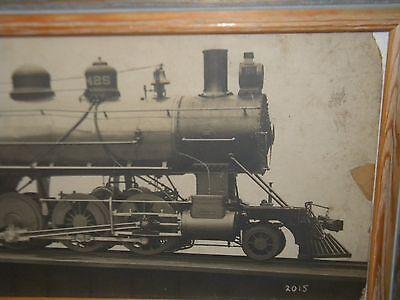 Early LOCOMOTIVE TRAIN ENGINE PHOTO.. Comes w/Wood Frame