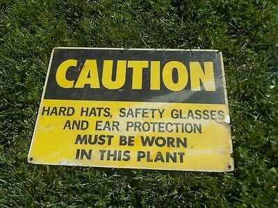 Caution Hard Hats and Safety Glasses classic work place sign