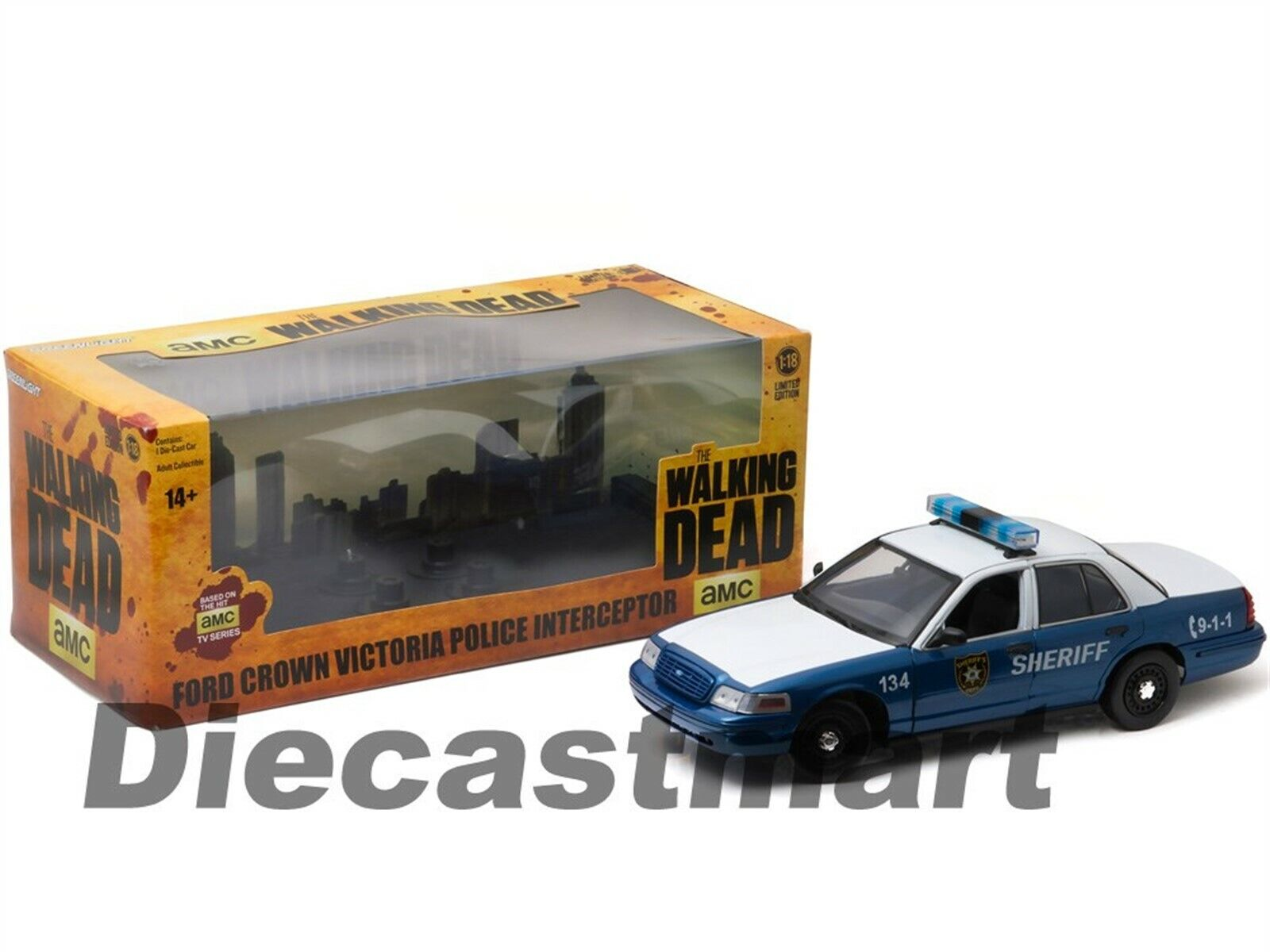 GREENLIGHT 12957 THE WALKING DEAD 2001 FORD CROWN VICTORIA 1//18 RICK /& SHANE/'S
