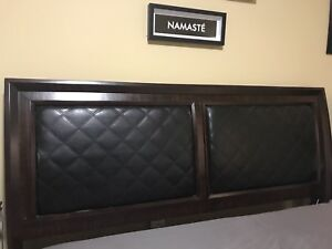 King size wood & leather bed frame & headboard