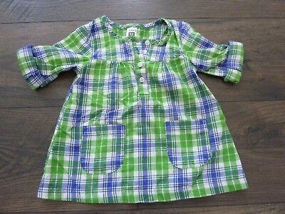 CARTERS BABY GIRL PLAID GREEN/BLUE DRESS~CONVERTIBLE SLEEVES~12 MONTHS~NWOT - Green Girl Dresses