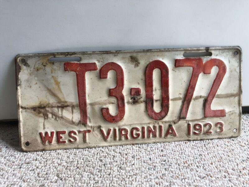 Vintage 1923 West Virginia License Plate