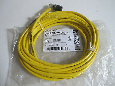 Balluff C04be100vy050m Cordset 3 Pin Receptacle Female 90 Deg Connector