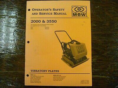 Mbw 2000 3550 Asphault Soil Vibratory Plate Compactor Shop Service Repair Manual