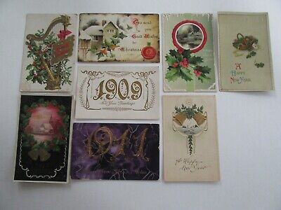 8 Vintage Antique Christmas New Year Holiday Postcards Craft Lot Flaws  ()