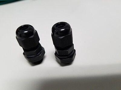 2 Waterproof Cable Gland 8-10 Awg Firewall Bushing Nylon Black
