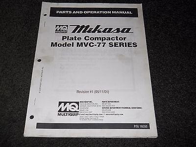 Multiquip Mikasa Plate Compactor Mvc-77 Series Operation Parts Manual