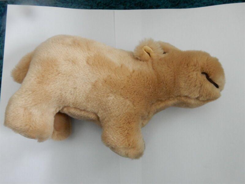 Steiff Hippo Beige Stuffed Animal 064111 Hippo BUTTON & FLAG