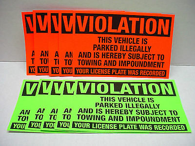 10 VIOLATION Parked illegally Towing Impound Warning Sign NO Parking Stickers
