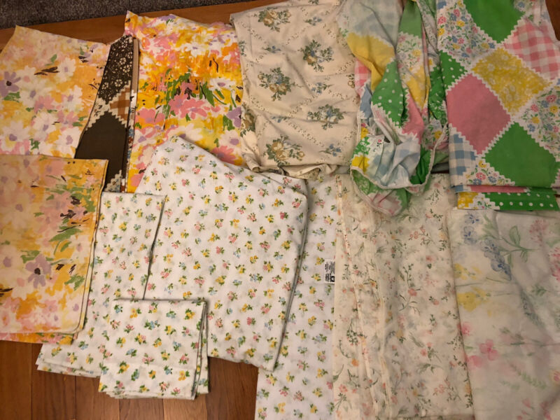 BIG Lot Vintage Full Double Sheets, Floral & Pillowcases! Fabric Linens, Nice!