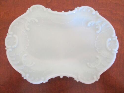 Vintage Pastel Blue Milk Glass Scroll-Edge Tray