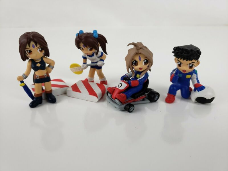 AH! (OH) MY GODDNESS Rare Mini Figures Race Car Set - PVC - 4 Characters & more
