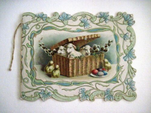 Vintage Lovely Easter Card w/ Colored Eggs, Lambs In A Basket & Yellow Chicks *
